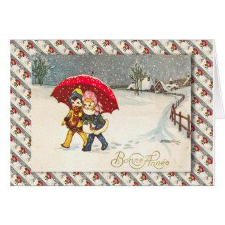 Fransk jul för vintage, barn under paraplyet hälsningskort