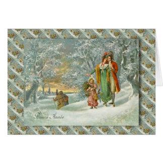 Fransk jul för vintage, familj i skogen hälsningskort