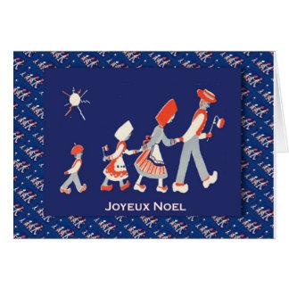 Fransk jul för vintage, familjparty hälsningskort