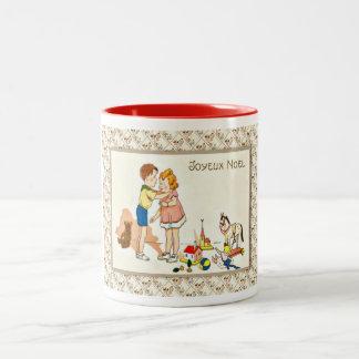 Fransk jul för vintage, kyssa för barn Två-Tonad mugg