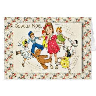 Fransk jul för vintage som dansar med dockor hälsningskort