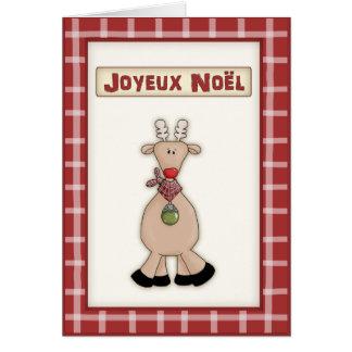 Fransk jul Rudolf det röda näsrenkortet Hälsningskort