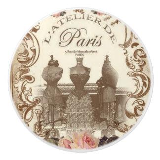Fransk keramisk knopp för vintage