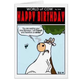 Fransk ko på strejka hälsningskort