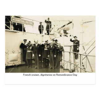 Fransk kryssare, dignitärer på minnedag vykort