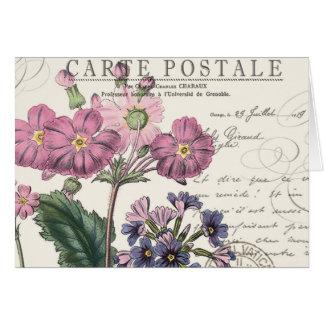 fransk lavendelblommigt för modern vintage OBS kort
