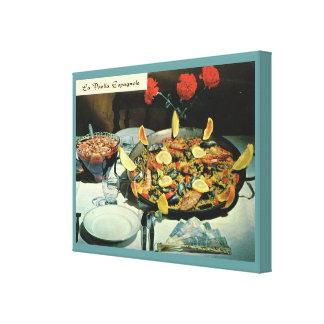 Fransk mat för vintage, LaPaella Espagnole Canvastryck