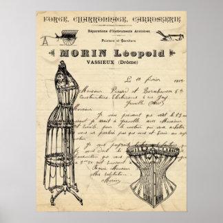 Fransk modeaffisch för vintage poster