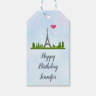 Fransk Paris med Eiffel tornfödelsedag Presentetikett