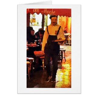 Fransk servitör i trycket Notecard för Paris OBS Kort