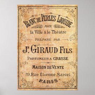 Fransk skönhetetikett för vintage poster