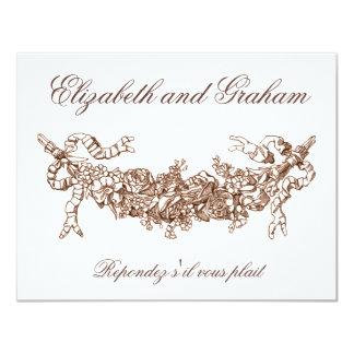 Fransk stil för Russetbyltebröllop OSA 10,8 X 14 Cm Inbjudningskort