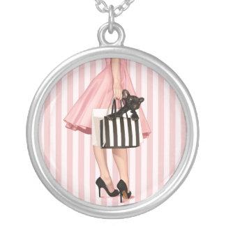 Fransk stil för shopping silverpläterat halsband