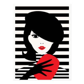 Fransk stilfull modeillustration för mode vykort