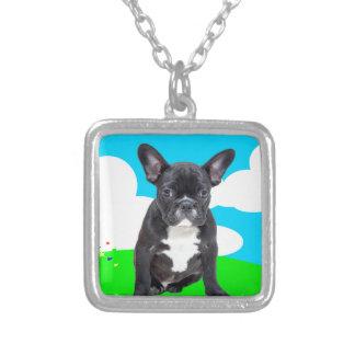 Fransk trädgård för moln för bulldoggvalpgrattis silverpläterat halsband