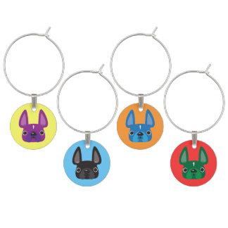 Fransk uppsättning för bulldoggvinberlock berlock vinglas