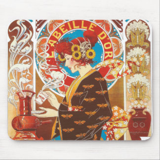 Fransk victorianillustration för galen art nouveau mus matta