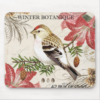 fransk vinterfågel för modern vintage mus mattor