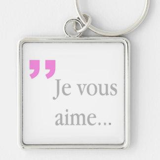 Fransk vit Keychain för JE VOUS AIME Fyrkantig Silverfärgad Nyckelring