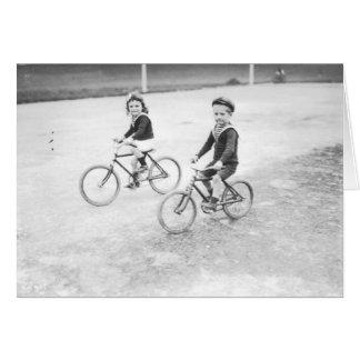 """""""Franska barn på cykel"""" notecard OBS Kort"""