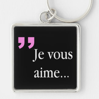 Fransksvart Keychain för JE VOUS AIME Fyrkantig Silverfärgad Nyckelring
