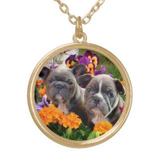 Franskt bulldogghalsband guldpläterat halsband