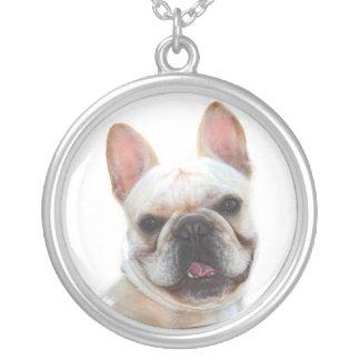 Franskt bulldoggsilverhalsband silverpläterat halsband