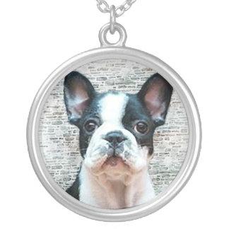 Franskt bulldoggvalphalsband silverpläterat halsband
