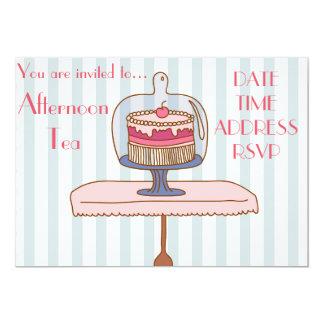 Franskt party för Tea för art décoeftermiddagkick 12,7 X 17,8 Cm Inbjudningskort