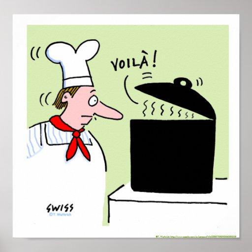 Franskt tryck för kök för tecknad för kockkockgåvo print