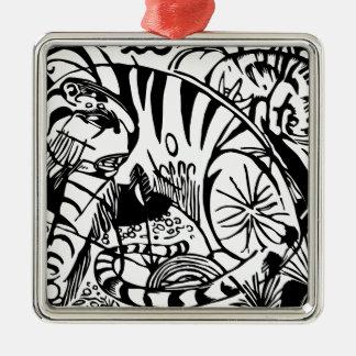 Franz Marc - svartvit tiger - abstrakt konst Julgransprydnad Metall