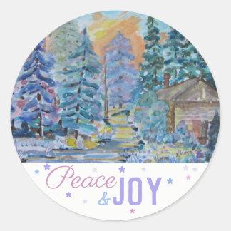 Fred & glädje - kabin i skogenplatsen (20) runt klistermärke