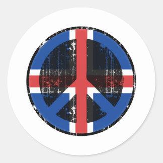 Fred i island rund klistermärke