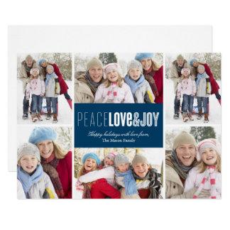 Fred-, kärlek- & för glädje | blått 12,7 x 17,8 cm inbjudningskort