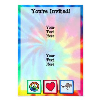 Fred kärlek, kängurur 12,7 x 17,8 cm inbjudningskort