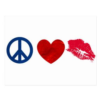 Fred kärlek, läppstiftkyss vykort