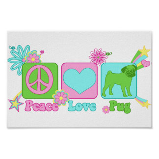 Fred - kärlek - mops poster