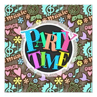 Fred kärlek, musik fyrkantigt 13,3 cm inbjudningskort