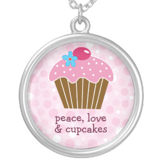 Fred-, kärlek- och muffinshalsband silverpläterat halsband