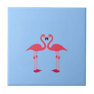 fred och glädje för hjärta för flamingofågelkärlek kakelplatta