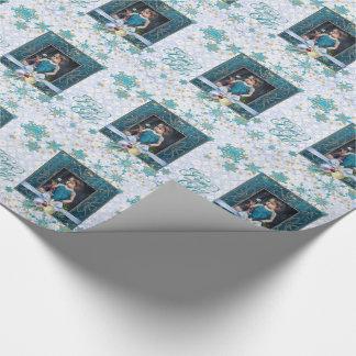 Fred och glädje i blått med ditt foto presentpapper