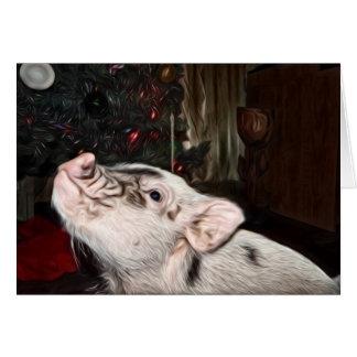 Fred och kärlek målad mini- grisjulkort hälsningskort