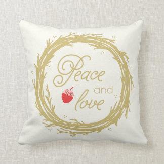 Fred och kärlek semestrar dekorativ kudde/guld- kudde