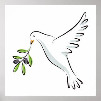 Fredduva med olivgrön gren poster