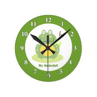 Freddy grodaväggen tar tid på - grönt rund klocka