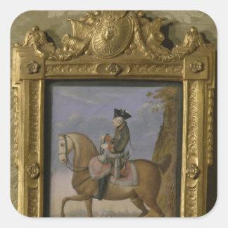 Frederick II på hästrygg Fyrkantigt Klistermärke
