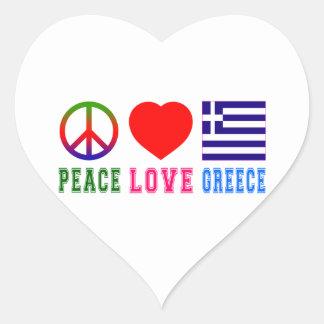 Fredkärlek Grekland Hjärtklistermärken