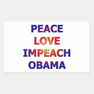 Fredkärlek Impeach Obama Rektangulärt Klistermärke