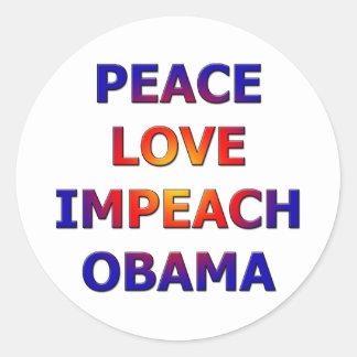 Fredkärlek Impeach Obama Runt Klistermärke