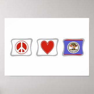 Fredkärlek och Belize kvadrerar Poster